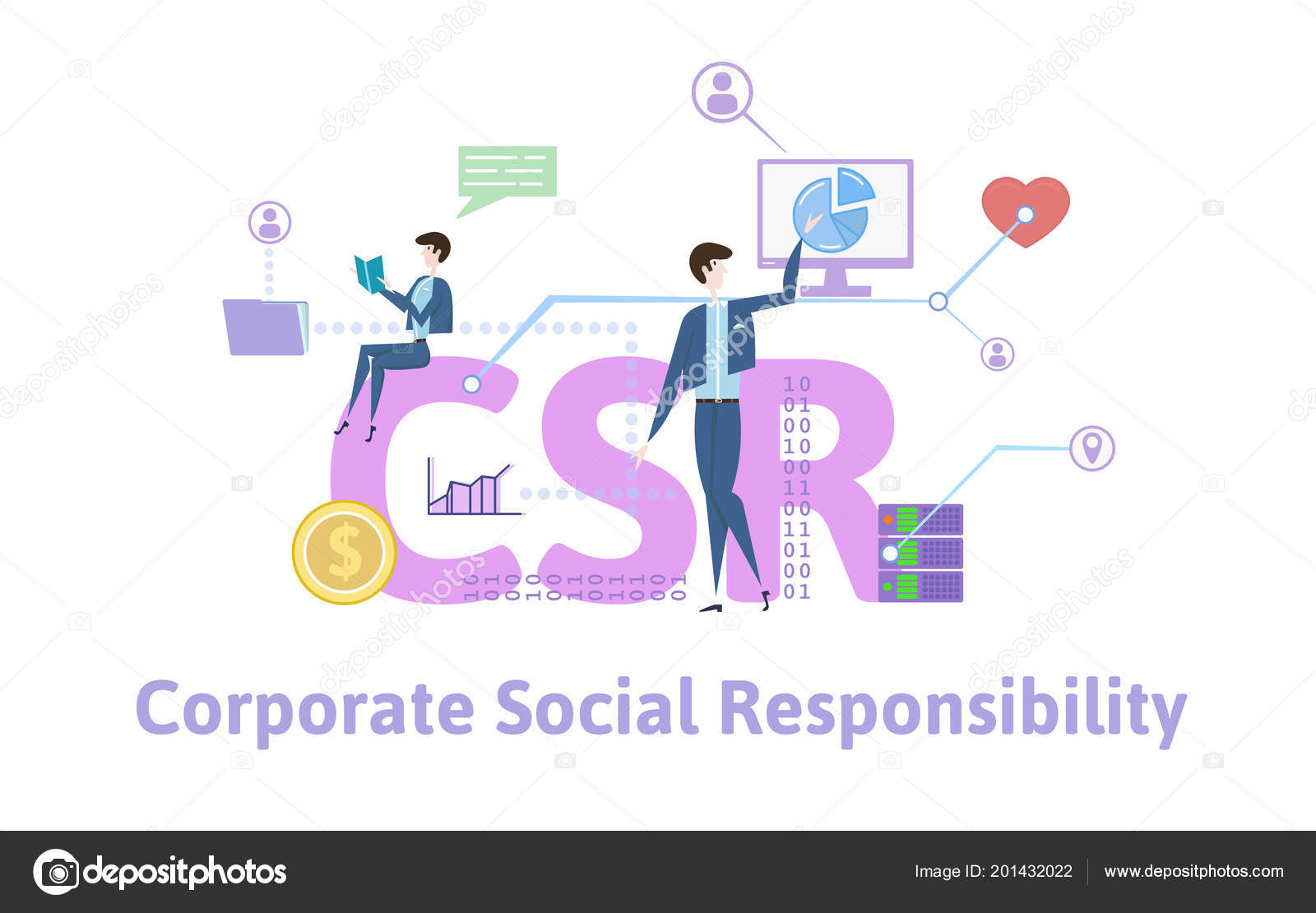 csr, corporate social responsibility. concept table with keywords