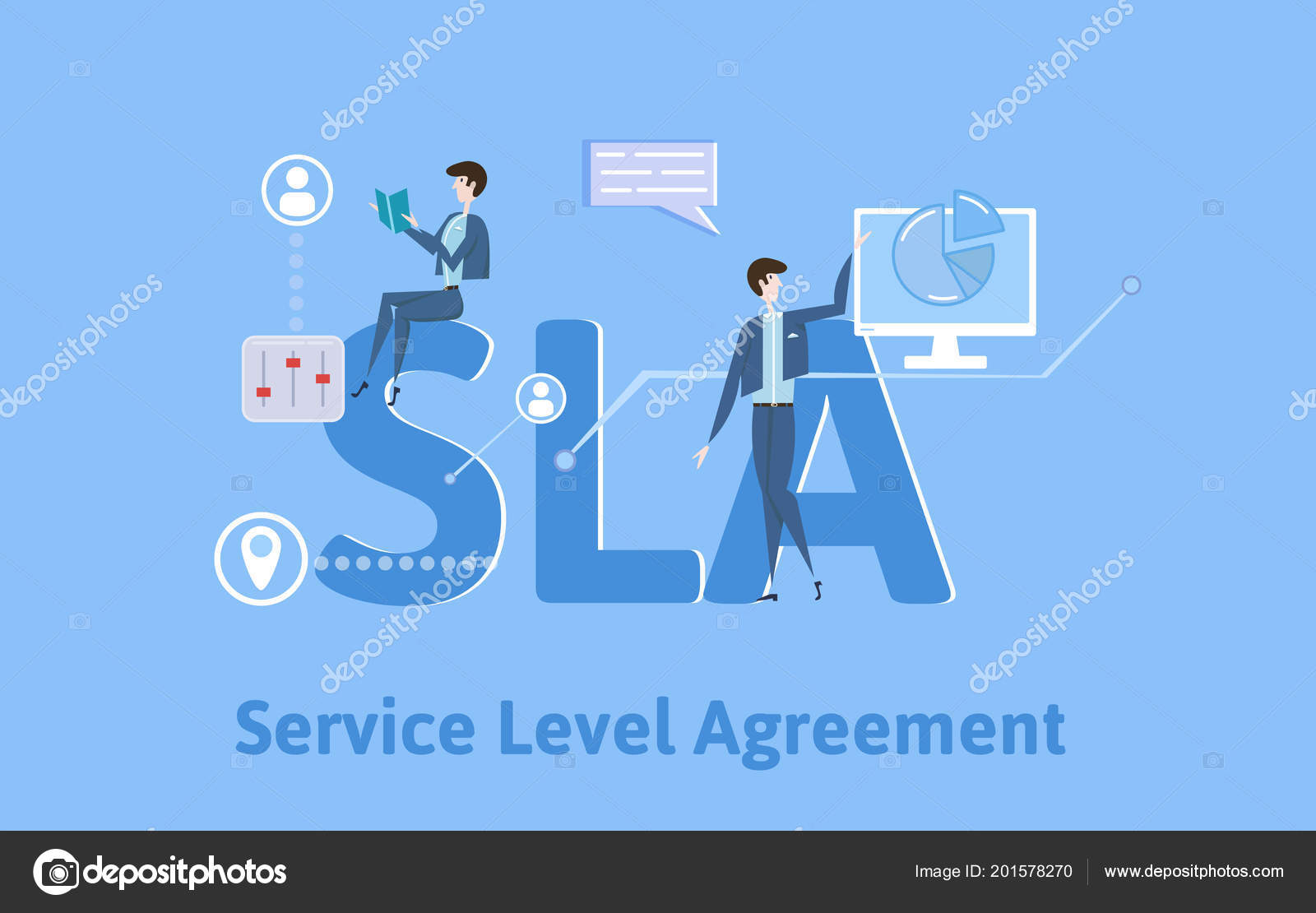 sla service level agreement concept table with keywords letters