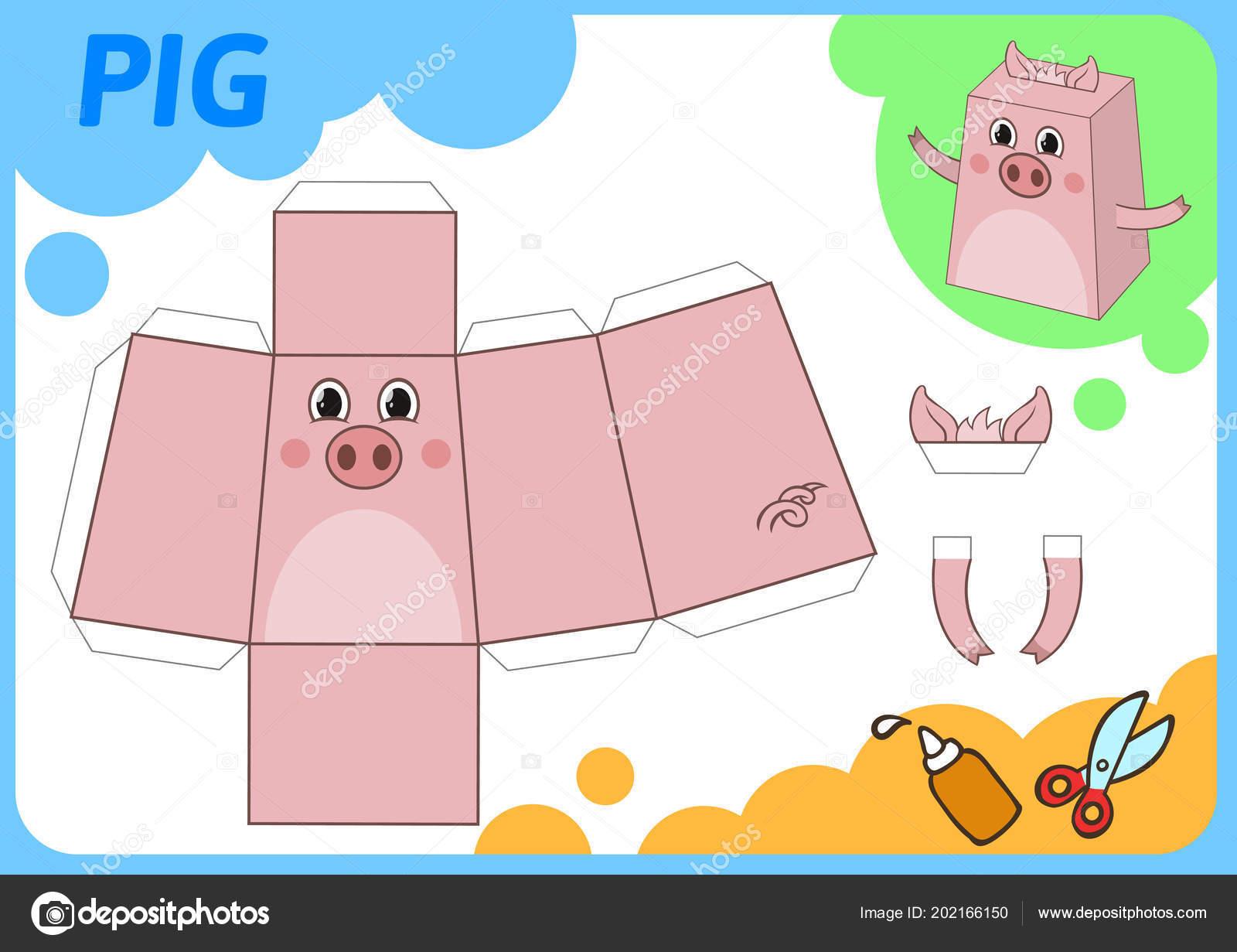 Lustiges Schwein Papiermodell Kleines Haus Craft Projekt Diy