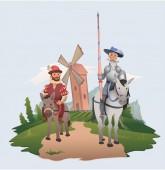 Fotografie Don Quijote und Sancho Panza reiten auf Windmühlenhintergrund. Buch-Zeichen. Flache Vektor-Illustration.