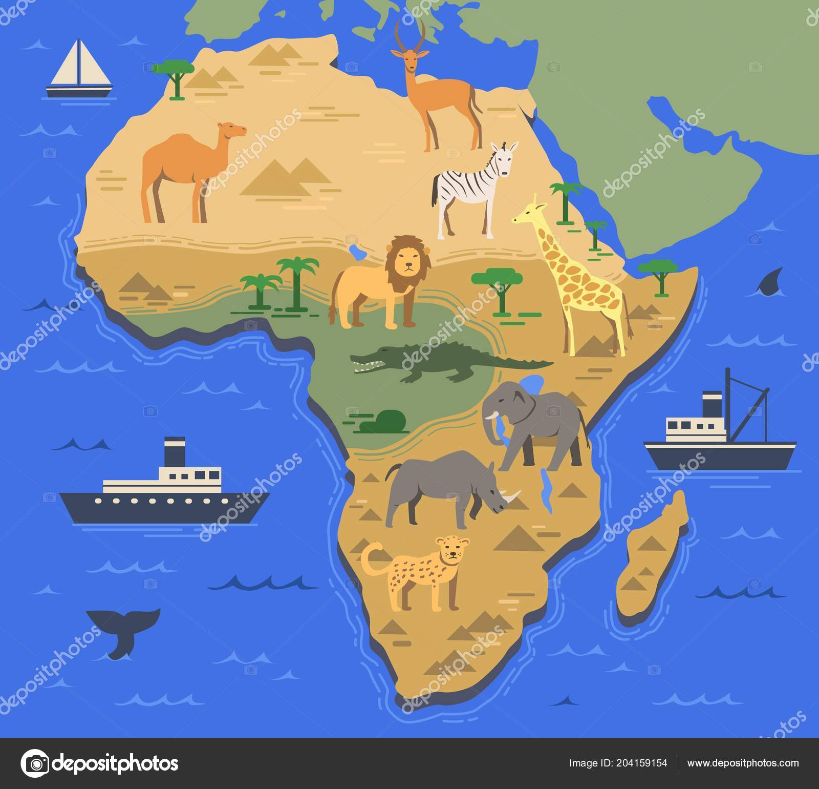 Stylized Africa map with indigenous animals and nature ... on geography of africa, legal map of africa, transportation map of africa, topological map of africa, full map of africa, detailed map of africa, territorial map of africa, blank map of africa, ethnographic map of africa, geographic features of africa, climate map of africa, geographical egypt, labeled map of africa, drakensburg mountains on map of africa, physiological map of africa, mountain ranges in africa, landform map of africa, show me the map of africa, interactive physical map of africa, ecological map of africa,