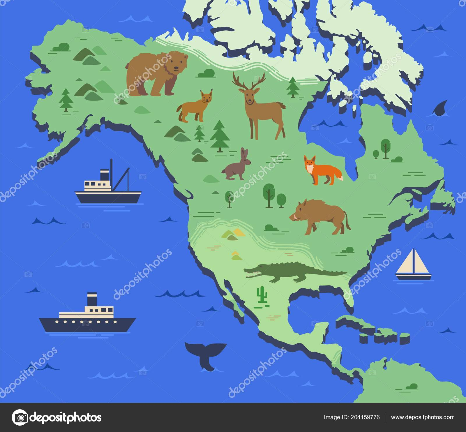 Geographical Map Of America.Stylized Map Of North America With Indigenous Animals And Nature