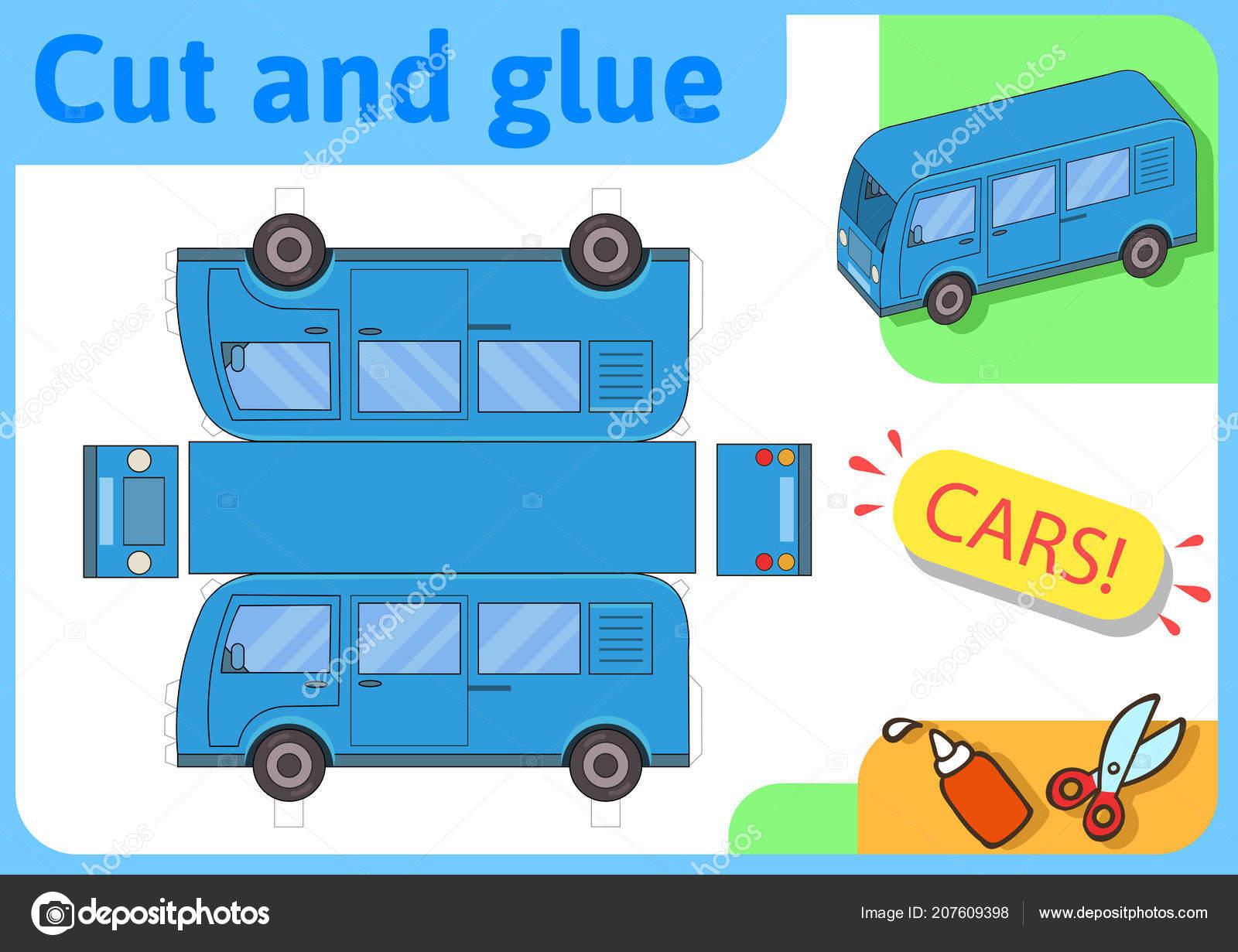 Modello Di Carta Di Minibus Blu Progetto Di Casa Piccole