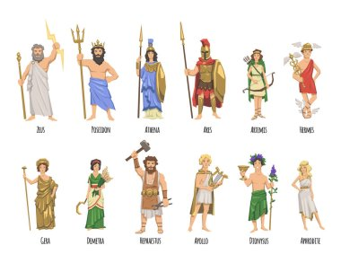 Pantheon of ancient Greek gods, Ancient Greece mythology. Set of characters with names. Flat vector illustration. Isolated on white background. stock vector