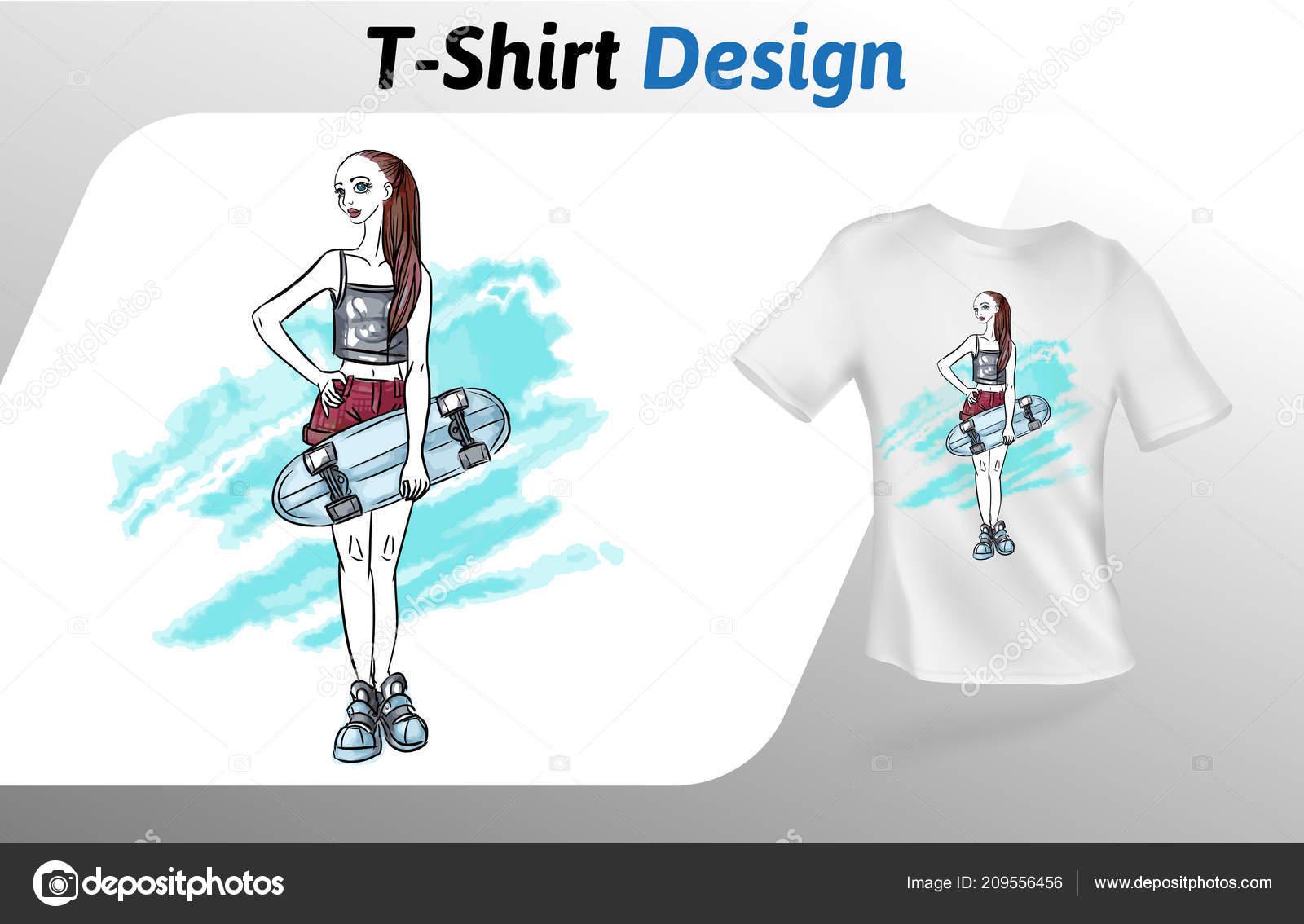 Con Il Pattino Su Stampa T Ragazza Shirt Modello AstrattoManichino 1FJ3lKcT