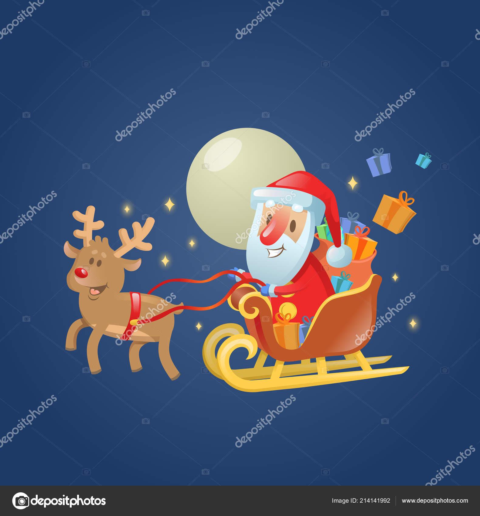 Immagini Di Babbo Natale Con Le Renne.Slitta Di Babbo Natale In Sua Slitta Di Natale Con Le Sue
