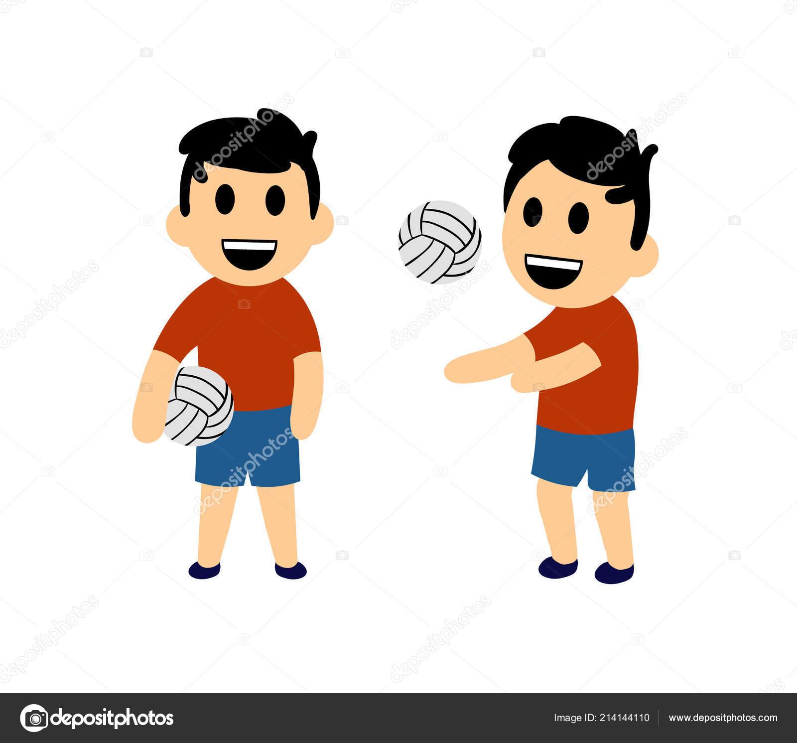 Vtipne Kreslene Chlapce Hrat Volejbal Sada Dvou Postav Plocha
