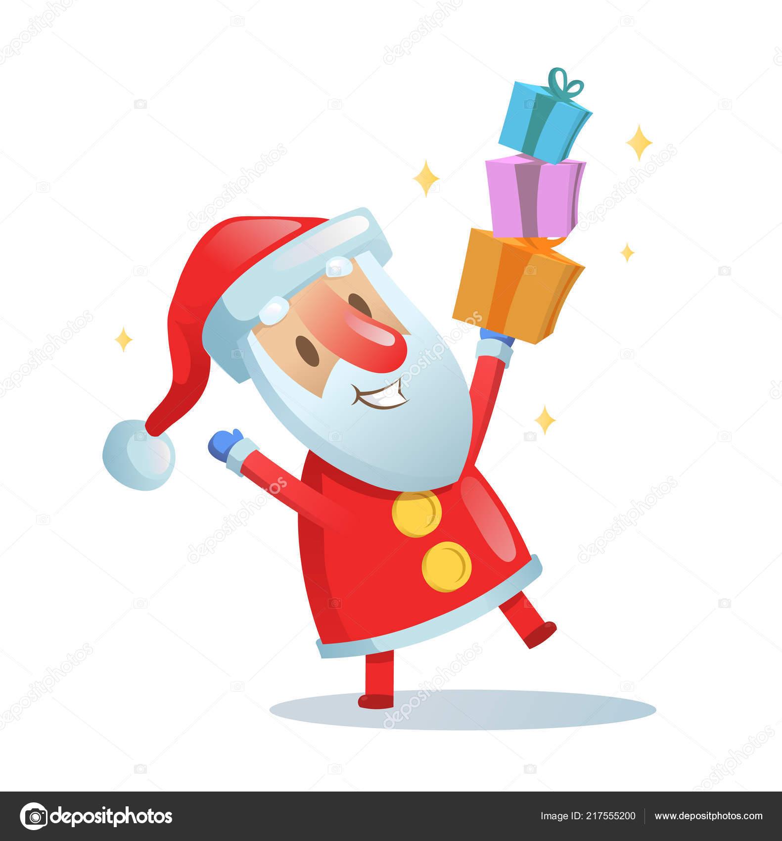Funny Santa dancing. Cartoon Christmas card. Flat vector ...