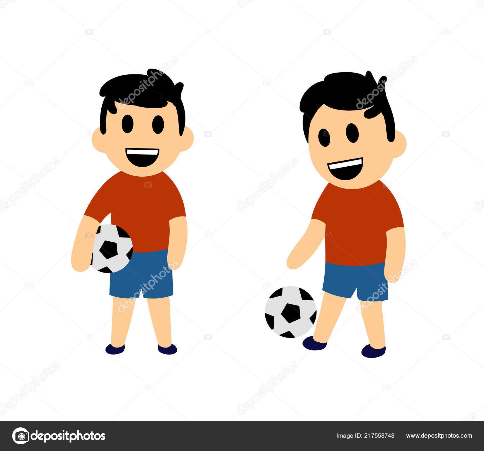 Lustige Cartoon Jungen Fussball Spielen Satz Von Zwei