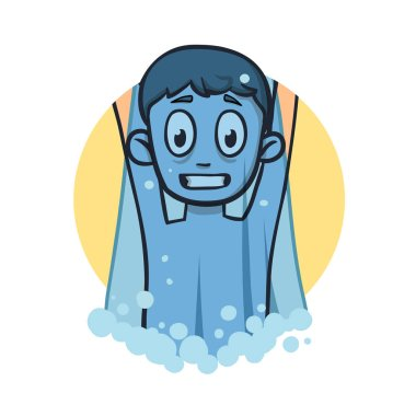 Funny boy under cold shower. Flat design icon. Flat vector illustration. Isolated on white background.
