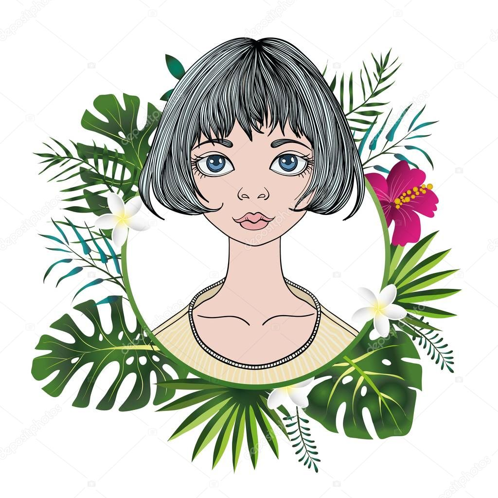 Portrait of a young woman with short hair in floral round frame. Colorful flat vector illustration. Isolated on white background.