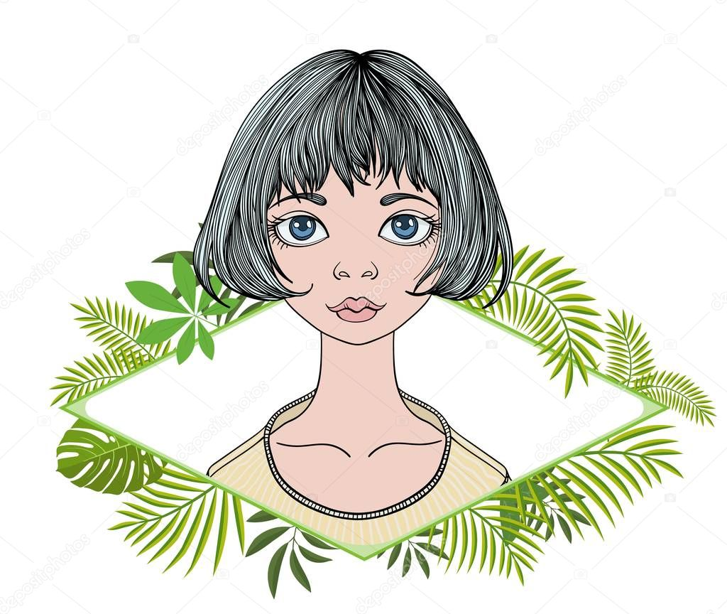 Young woman with short hair in floral frame. Colorful flat vector illustration. Isolated on white background.