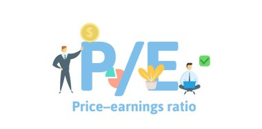 PE, Price to Earnings ratio. Concept with keywords, letters and icons. Flat vector illustration. Isolated on white background.