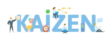 KAIZEN. Concept with people, letters and icons. Colored flat vector illustration. Isolated on white background.