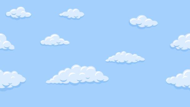 Na modré obloze se vznášejí karikaturní mraky. Animace bezešvé smyčky na pozadí.