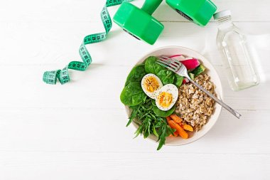 Concept healthy food and sports lifestyle. Vegetarian lunch.  Healthy breakfast. Proper nutrition.