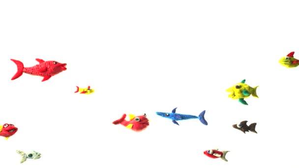Cartoni animati pesci sotto il mare, animazione Loop dellargilla del mondo subacqueo
