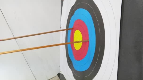 Pfeile im Bogenschießen Zielscheibe, Erfolgskonzept, selektiver Fokus