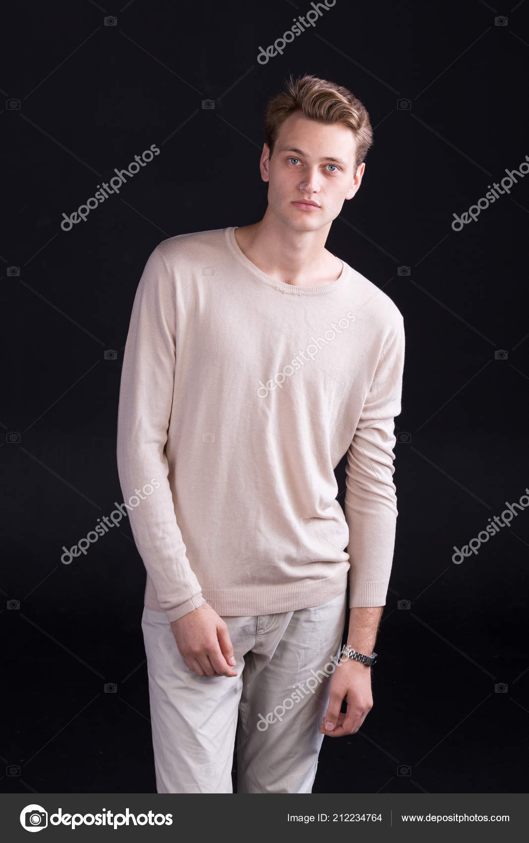 Handsome Male Model Blue Eyes Light Curlie Hair Beige Sweater