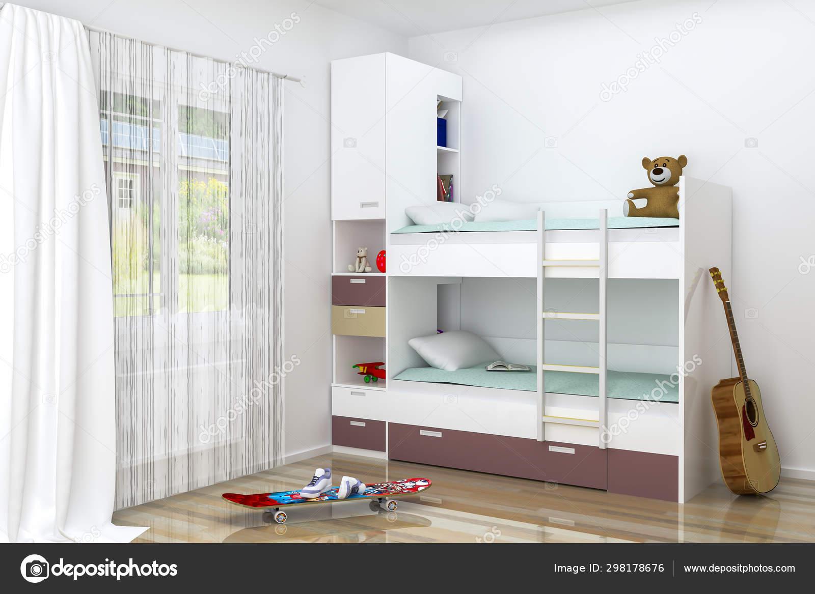 Realistic Rendering Modern Kids Bedroom Furniture Design Bunk Bed Decorations Stock Photo C Richard Salamander 298178676