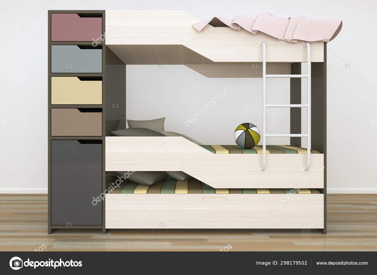 Realistic Rendering Modern Kids Bedroom Furniture Design ...