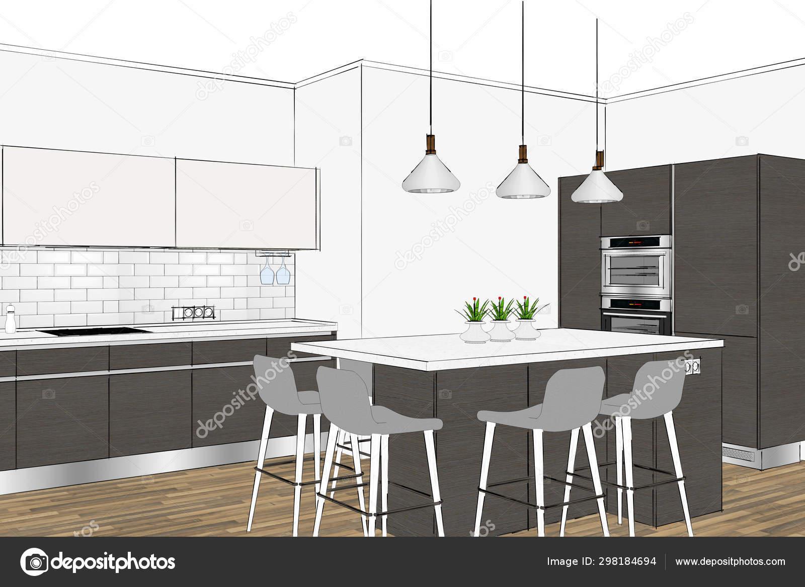 Fabulous Rendering Modern Scandinavian Kitchen Furniture Design Light Short Links Chair Design For Home Short Linksinfo