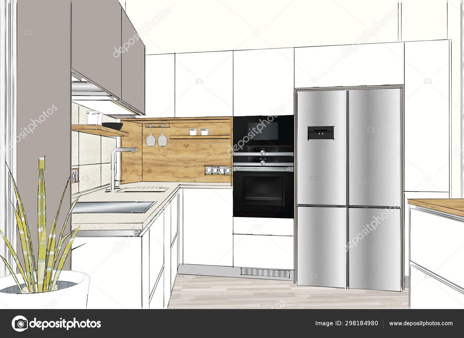 Ilustración Moderno Diseño Muebles Cocina Interior Claro ...