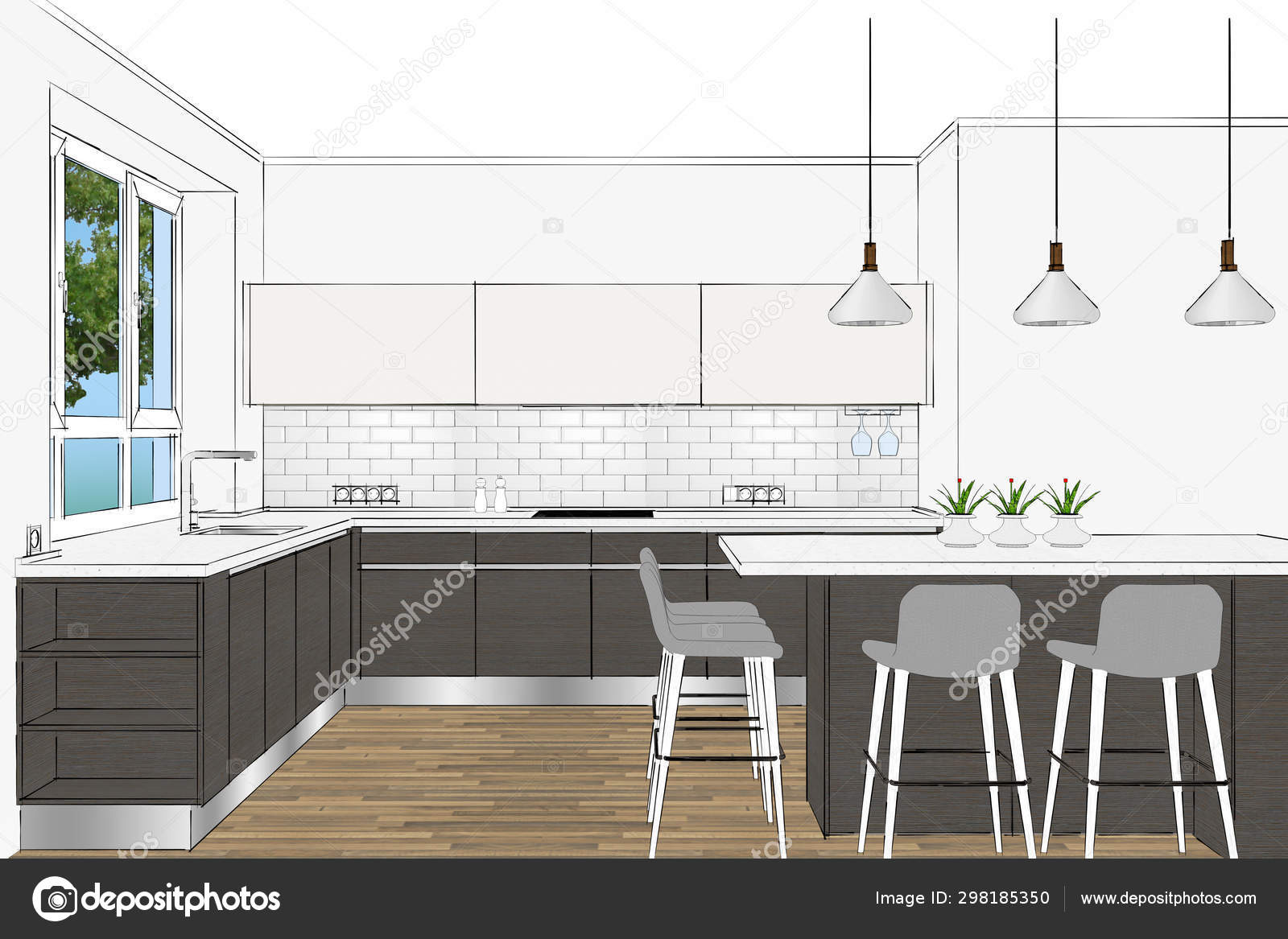 Rendering Modern Scandinavian Kitchen Furniture Design Light Interior Kitchen Island Stock Photo Image By C Richard Salamander 298185350
