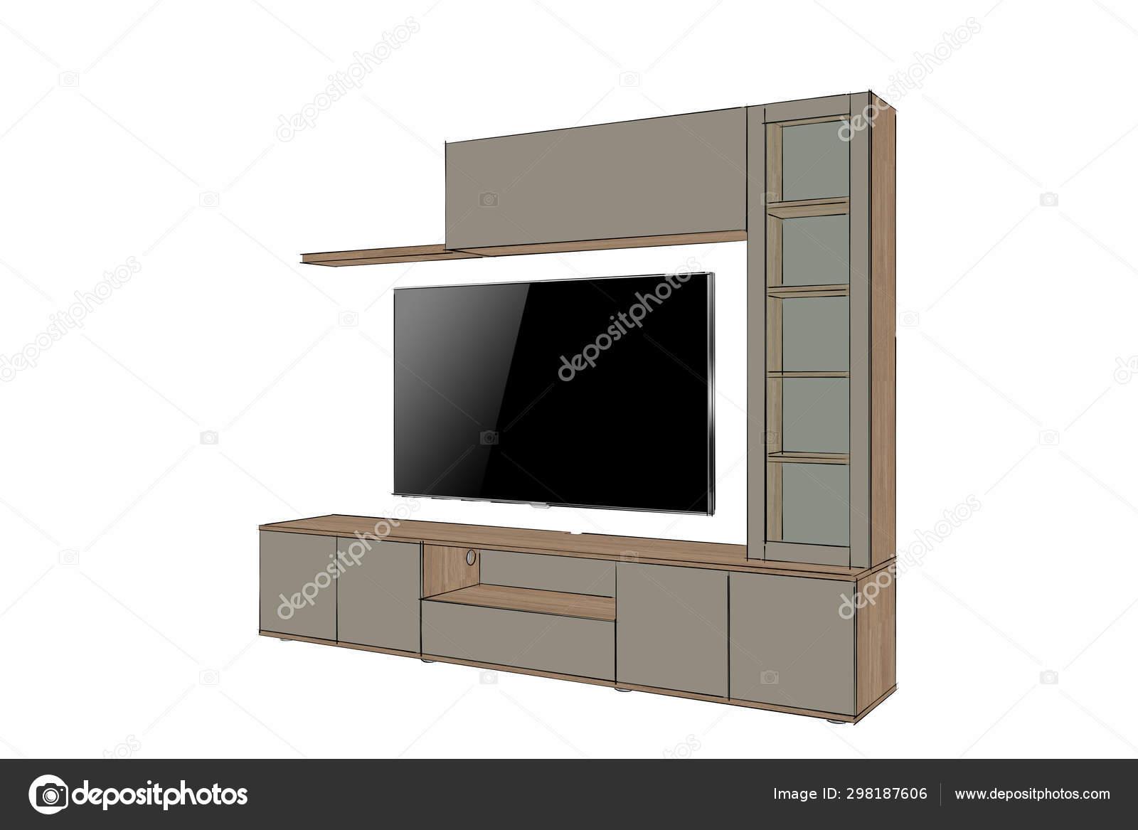 Rendering Modern Stand Furniture Design Isolated White Background Sketch Living Stock Photo C Richard Salamander 298187606