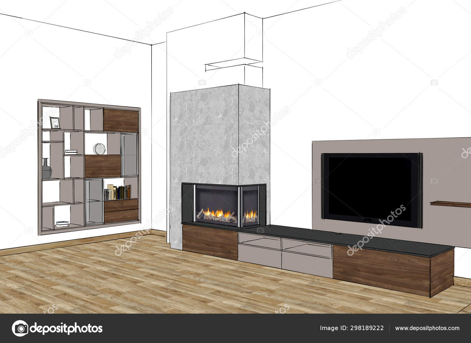 Rendering Living Room Modern Fireplace Furniture Interior Design Stand Open Stock Photo C Richard Salamander 298189222