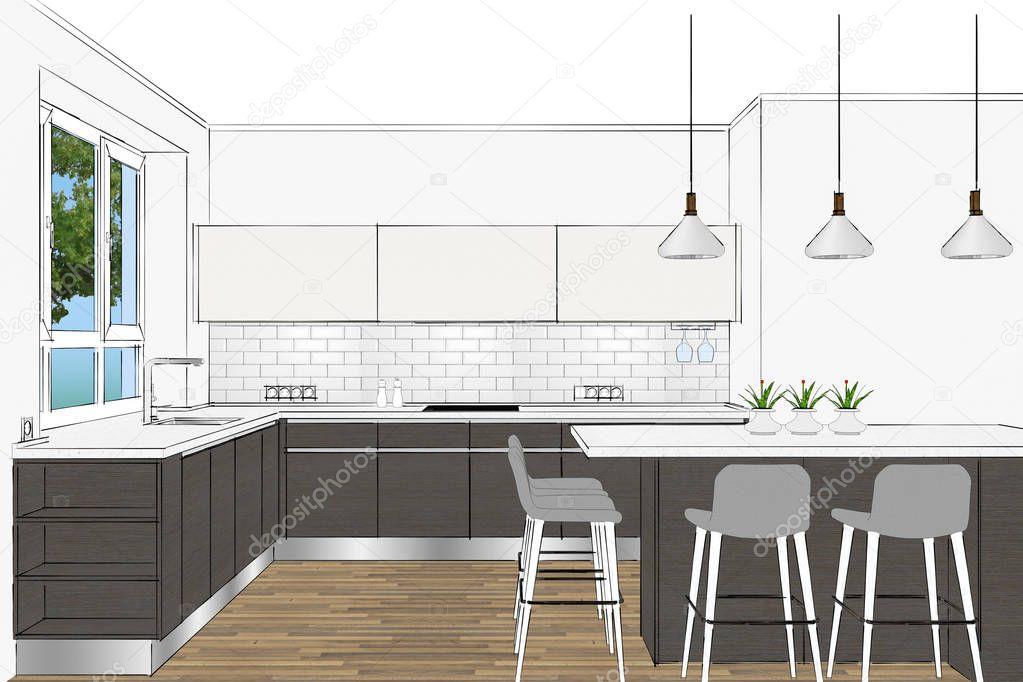 Outstanding Rendering Modern Scandinavian Kitchen Furniture Design Light Short Links Chair Design For Home Short Linksinfo