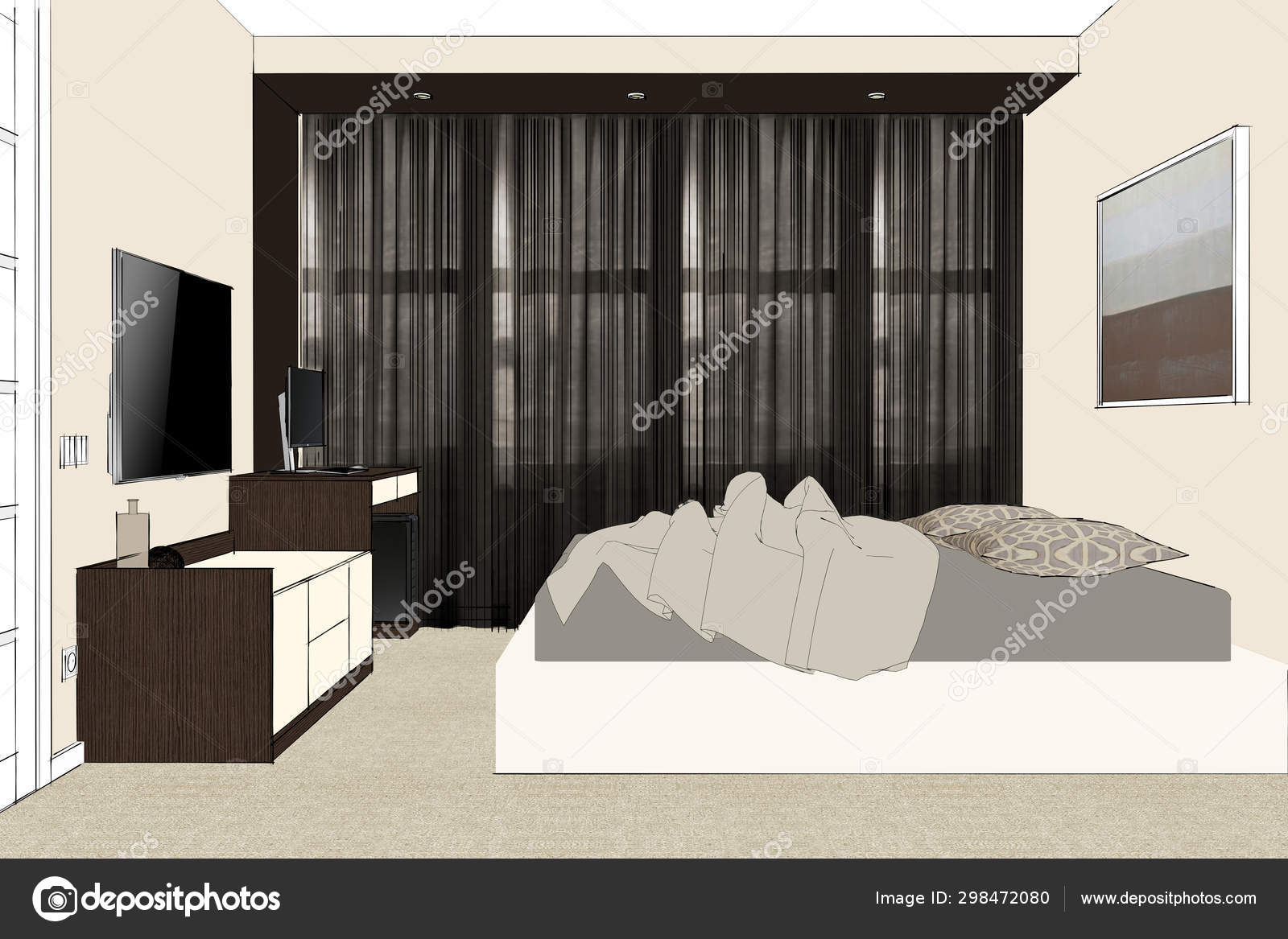 Rendering Elegant Bedroom Contemporary Style Brown Beige