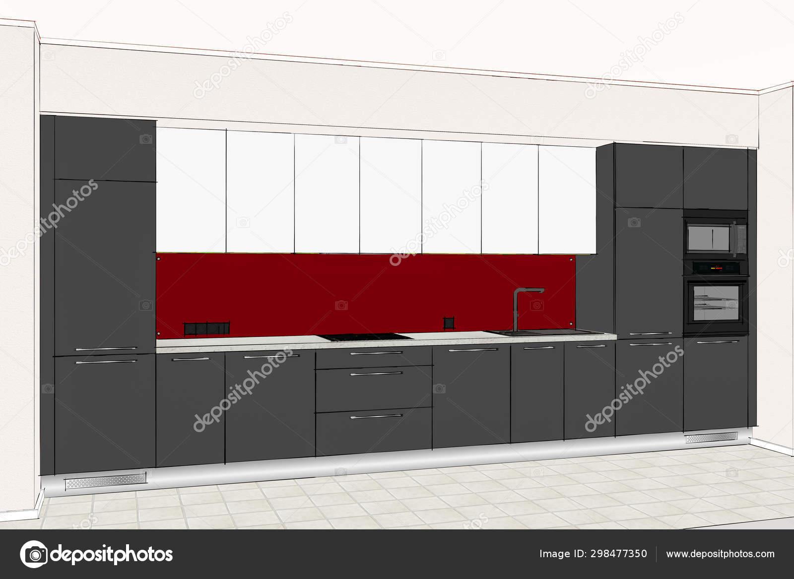 Ilustración Diseño Lineal Muebles Cocina Modernos Interior ...
