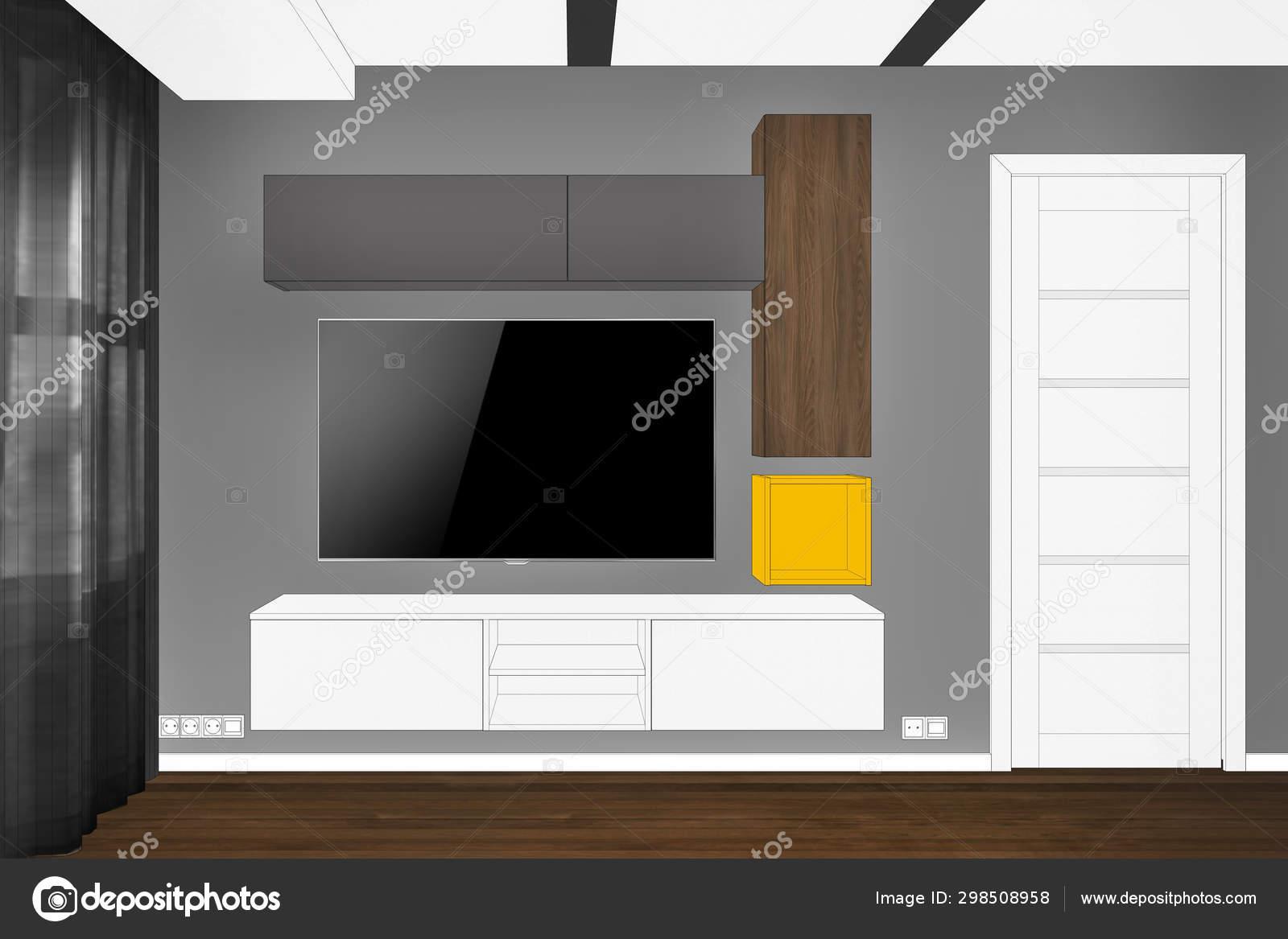 Rendering Modern Living Room Interior Modern Creative Furniture Stand Entertainment Stock Photo C Richard Salamander 298508958