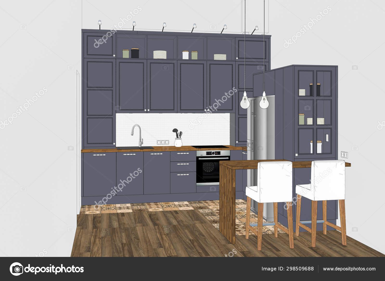 Illustration Modern Creative Kitchen Design Light Interior ...