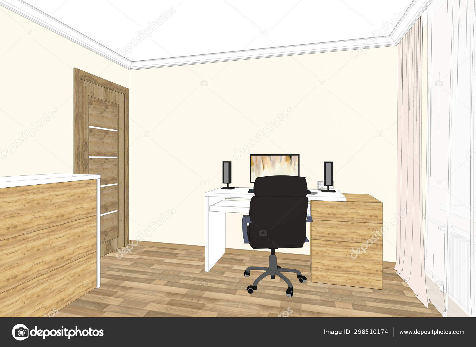 Illustration Home Office Interior Furniture Design Home Office Sketch Perspective Stock Photo C Richard Salamander 298510174