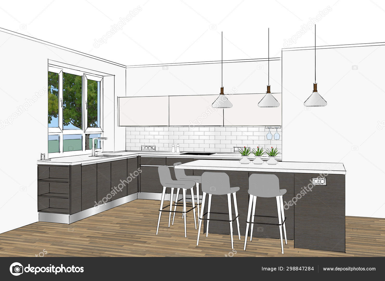 Rendering Modern Scandinavian Kitchen Furniture Design Light Interior Kitchen Island Stock Photo Image By C Richard Salamander 298847284