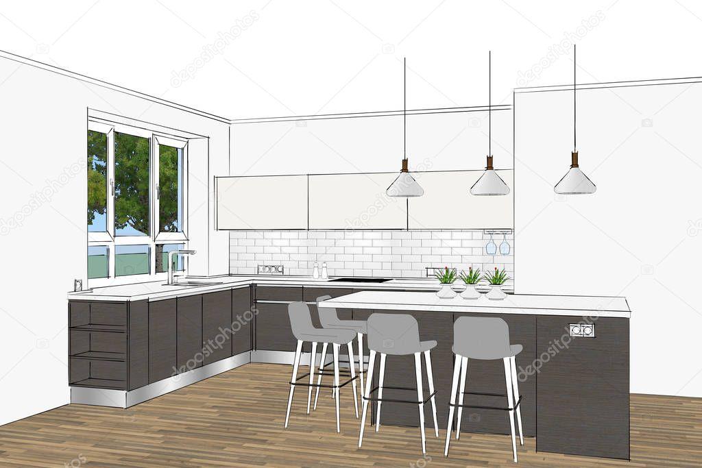Amazing Rendering Modern Scandinavian Kitchen Furniture Design Light Short Links Chair Design For Home Short Linksinfo