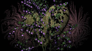 Heart Shaped Rock with flowers over a dark background - 3D rendering