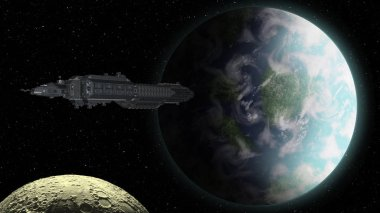 Spaceship approaching an Earthly planet - 3d rendering