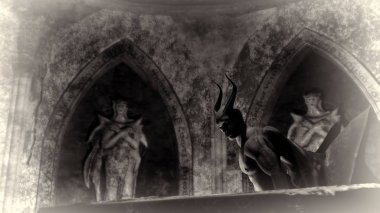 Fallen angel satan in a dark crypt