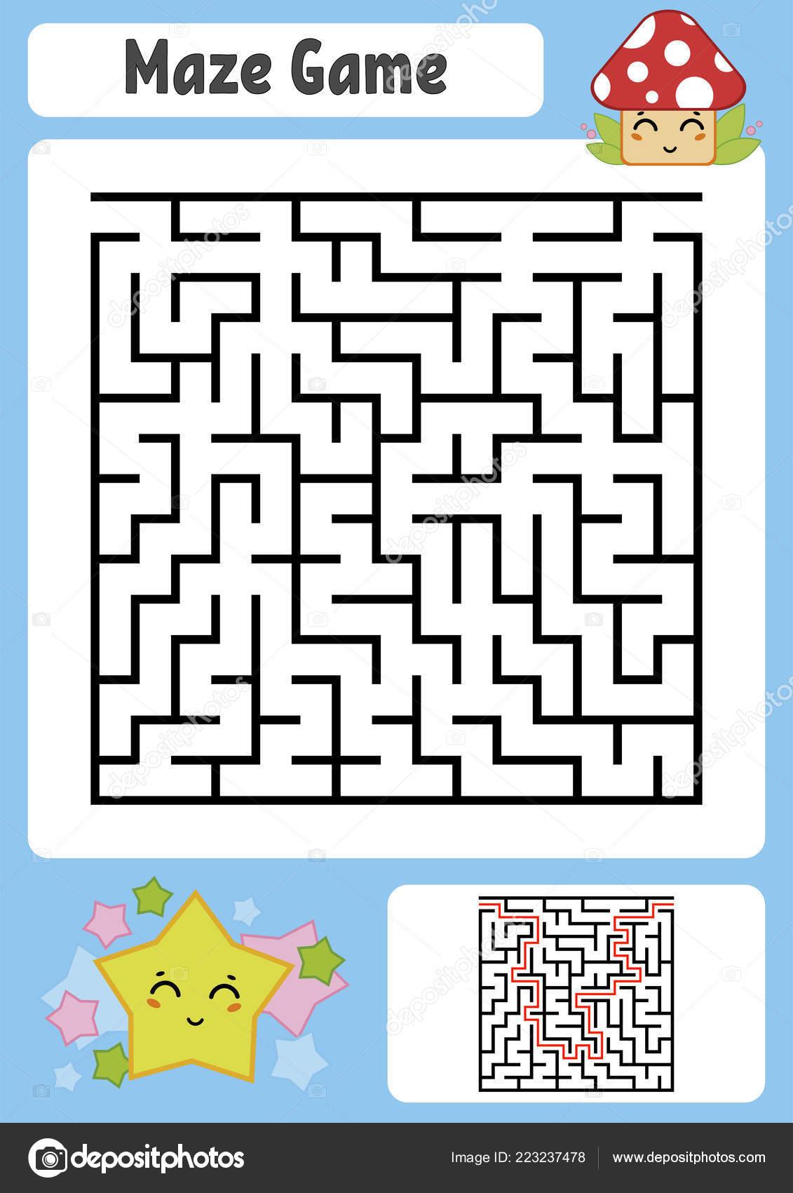Abstraktni Ctverecnich Bludiste Deti Pracovni Listy Hra Puzzle Pro