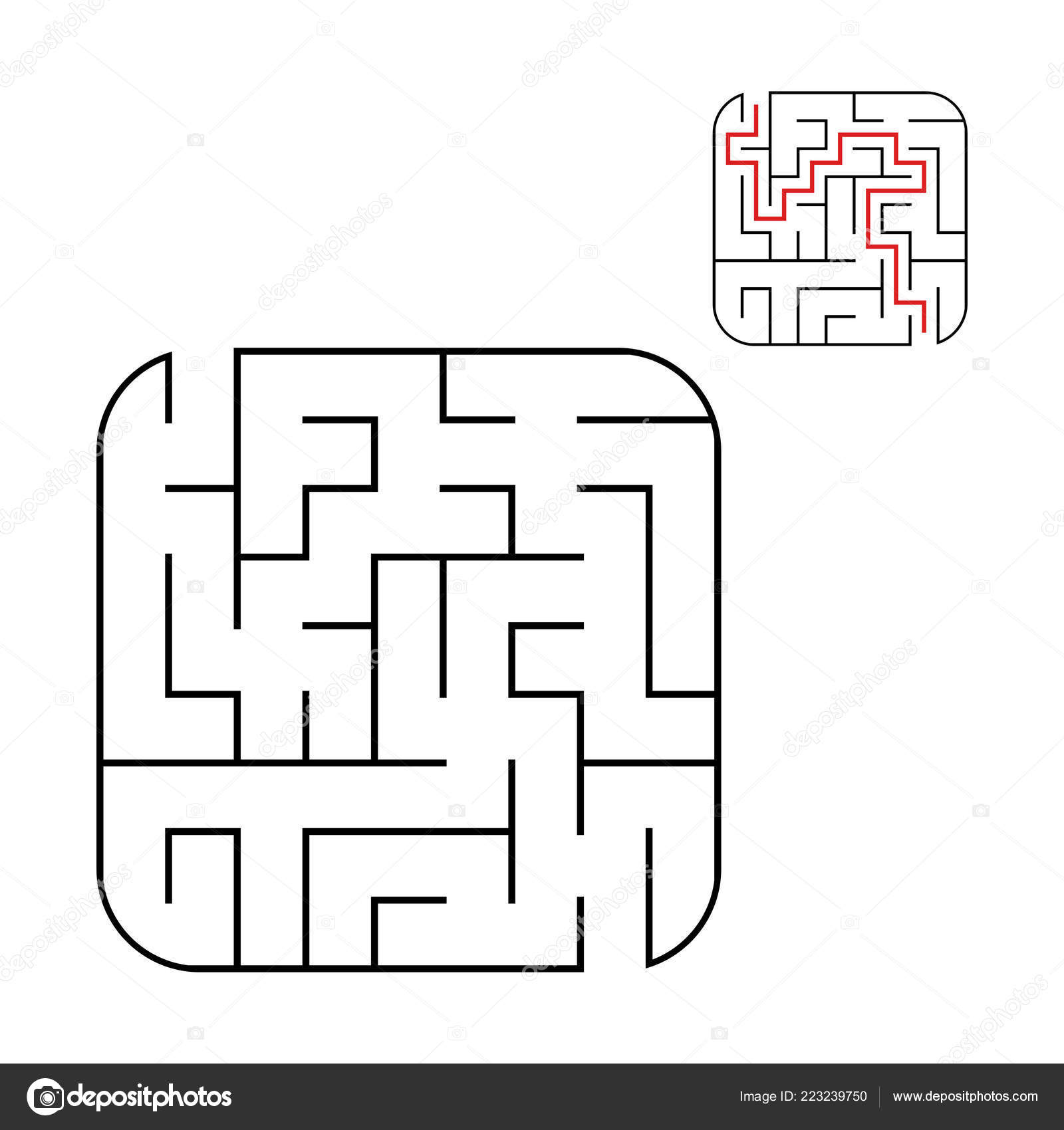 抽象的な正方形の迷路 難易度の簡単なレベル 子供のためのゲーム 子どものためのパズル つの出口を入口します 迷宮の難問 白い背景で隔離のフラット ベクトル図 ストックベクター C Platypusmi86