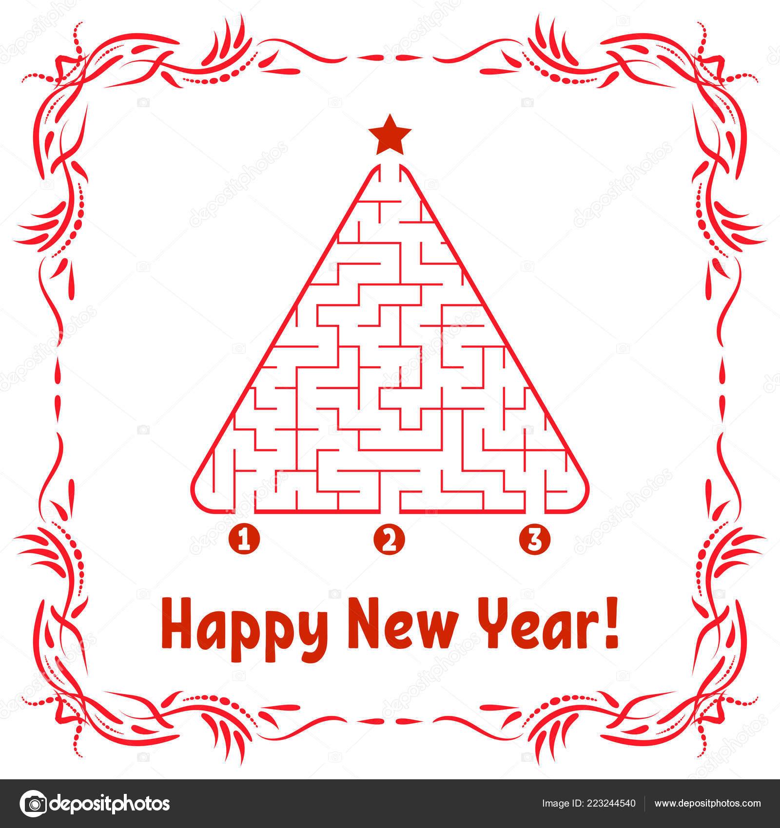 Tarjeta Felicitacion Ano Nuevo Con Laberinto Triangular Encontrar