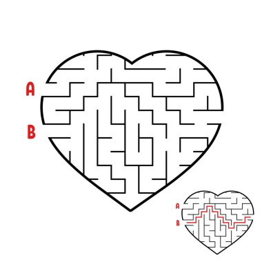 Labyrinth in the shape of a heart. Game for kids. Puzzle for children. Maze conundrum. Flat vector illustration isolated on white background.