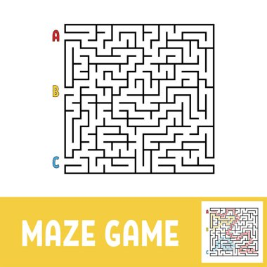 Colored square labyrinth. Game for kids. Puzzle for children. Maze conundrum. Flat vector illustration.