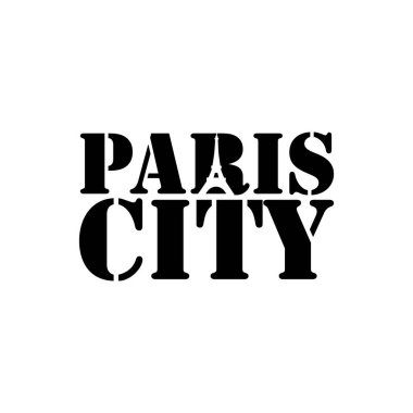 Paris city negative space typography logo design image