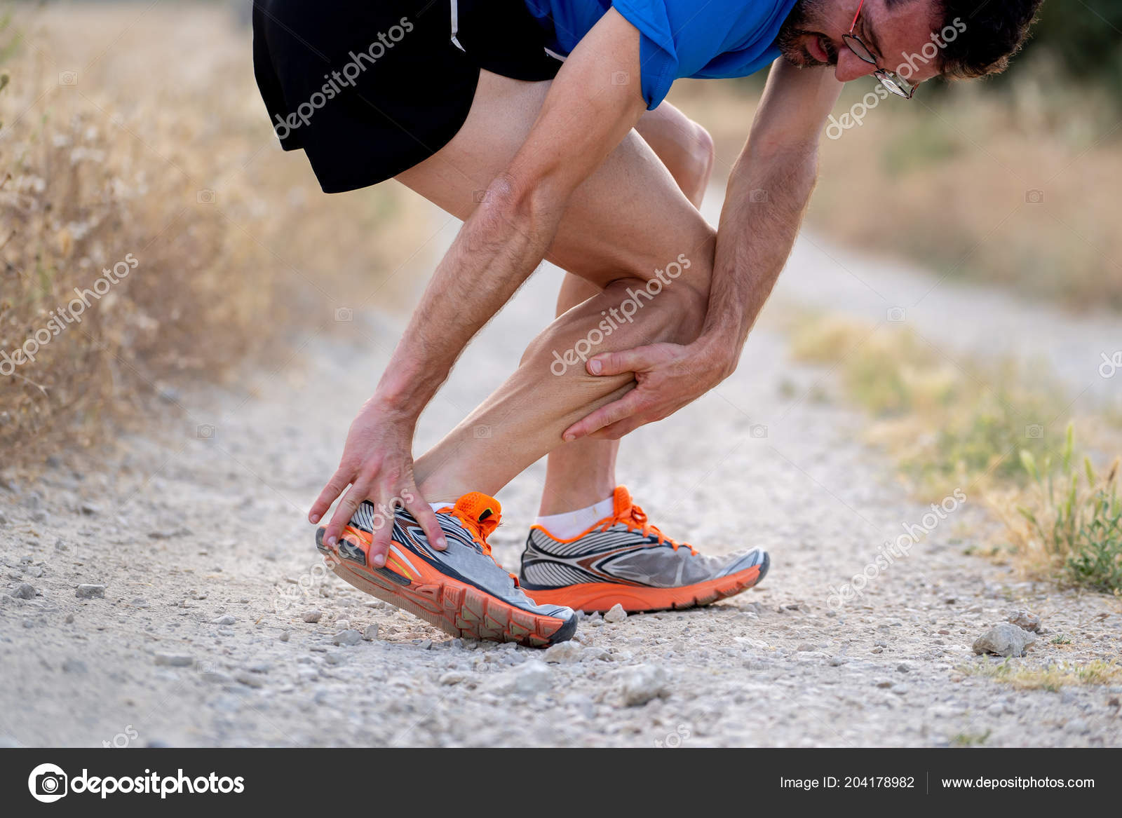 Close Runner Touching Painful Twisted Broken Ankle Shin Calf