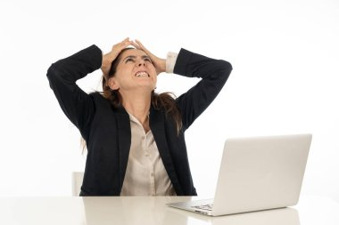 Business woman desperate with computer