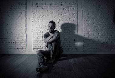Lonely man suffering from depression